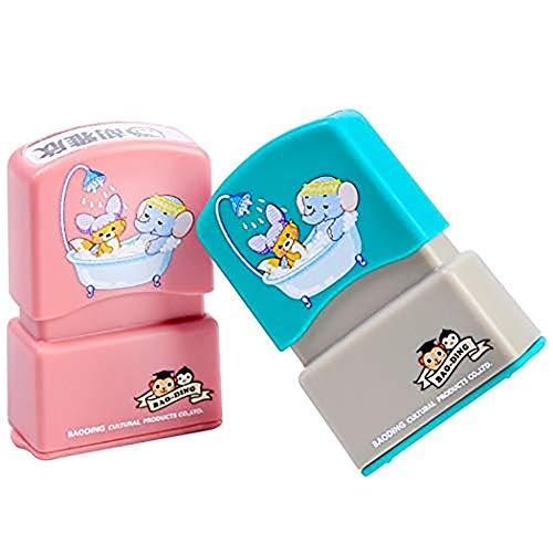 Sello personalizado para niños. Sello marcador de ropa y libros sello automático personalizado (azul)