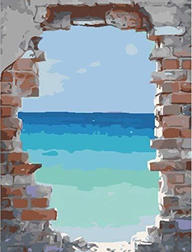 5D Kit de pintura de diamante para adultos-Azulejos de pared vista al mar-Diamond Painting taladro completo Cristal diamante Bordado Pinturas Artes kit -para decoración de la pared del hogar 30* 40CM