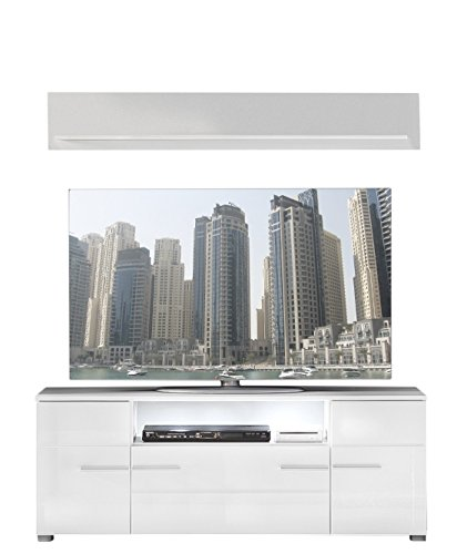 trendteam Wohnzimmer 2-teilige Set Kombination Vision, 131 x 52 x 45 cm in Korpus Weiß, Front Weiß Hochglanz mit viel Stauraum und Ablagefläche