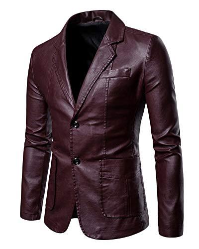 Hombres PU Traje Chaqueta Tamaño Grande Color Sólido Slim Fit Chaqueta De Cuero Blazer