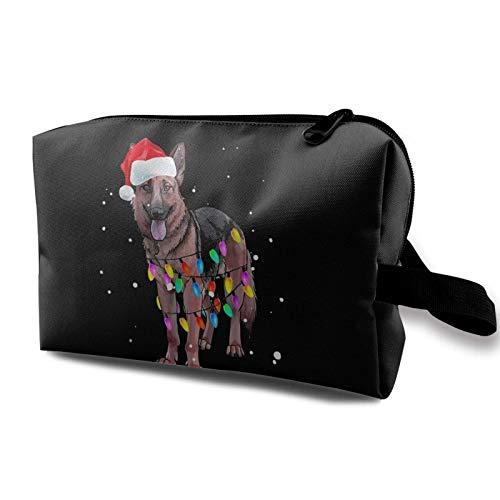 Schminktasche Nette Weihnachtsbeleuchtung Deutscher Schäferhund Tragbare Kosmetiktasche Travel Tolietry Bag Große Schminktasche wasserdichte Organizer-Tasche für Frauen Mädchen