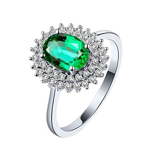 AnazoZ Anillos Mujer Esmeralda,Anillos de Compromiso Oro Blanco 18K Plata Verde Oval Flor Esmeralda Verde 1.16ct Diamante 0.31ct Talla 20