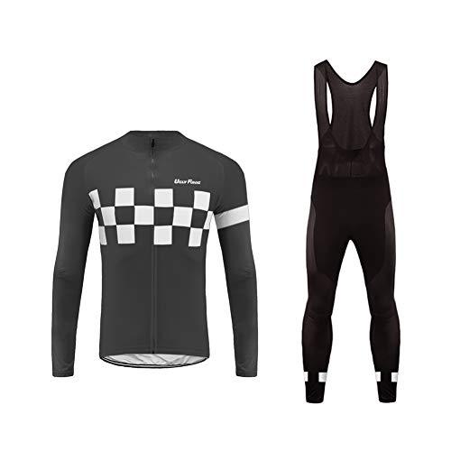 Future Sports UGLYFROG Bike Wear Maillot de Ciclismo Hombre 3D Cojín Conjunto Bicicleta de Montaña Ropa+Pantalones Culote de Ciclista Largo Transpirable y Elástico para Primavera