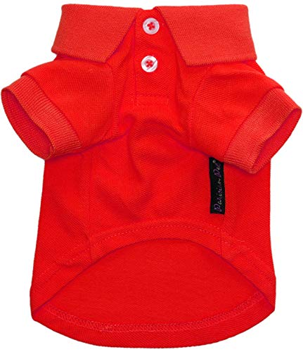 Parisian Pet Red Polo Shirt for Dogs - 100% Cotton, Breathable Summer Outfit for Puppy Dog, Cat  Solid Color Dog Shirts - Size XL