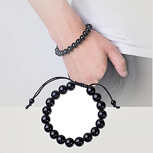 HOUHU Lymphatic Drainage Black Obsidian Bracelet,Crystal Bracelet, Adjustable Bead Bracelet 2pcs