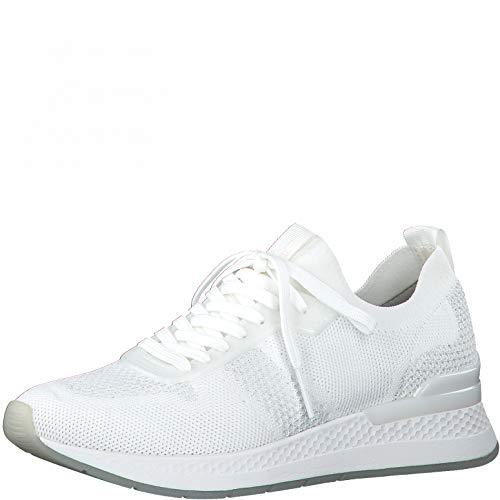 Tamaris Damen Low-Top Sneaker, Frauen Halbschuhe,lose Einlage,Women's,Woman,schnürschuhe,schnürer,Halbschuhe,keil,Wedge,White/Silver,41 EU / 7.5 UK