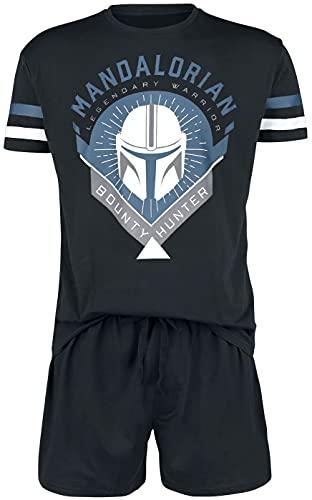 Star Wars The Mandalorian - Bounty Hunter Hombre Pijama Negro XXL, 100% algodón,
