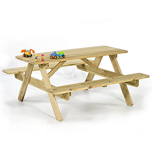 BrackenStyle Children's Picnic Table - Garden Play Bench Curved Edges For Safety - 4/6 Child (Scandinavian Pine)
