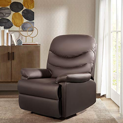 JUMMICO Recliner Chair PU Leather Sofa Adjustable Home Theater Seating Single Recliner Sofa Classic Lounge Chair Living Room Recliners with Three Section Cushion