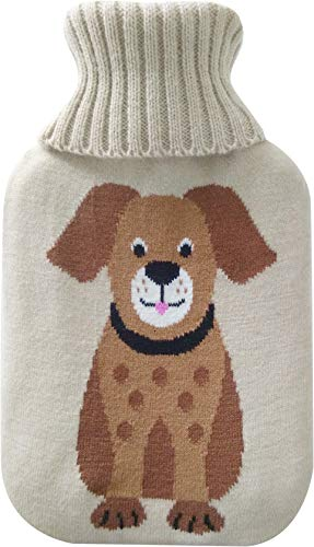 Netagon 2 Litre Hot Water Bottle and Soft Knitted Cover - Great Gift idea for Both Children & Adults (Dog Design)