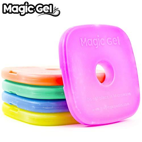 Magic Gel, 5 x Blocs Réfrigérants pour Boîtes à Repas et Glacières - Blocs Réfrigérants (Petits mais Durables) - Réutilisables et Parfaits pour Boîtes Repas des Enfants, Pique-Niques, Camping etc…
