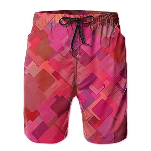 Olverz Pantalones cortos de playa para los hombres rojo papel pintado transpirable trajes de baño casual, blanco, XXL