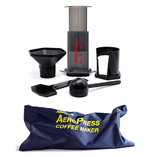 Aerobie AeroPress - Cafetera a presión para cafés y expresos (Incluye Bolsa de Nylon con Cremallera), Color Negro