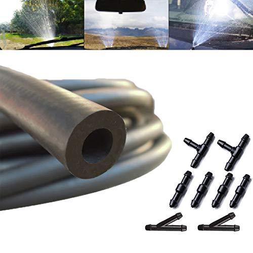 Dancepandas Scheibenwaschanlage Schlauch 6mm 2PCS 2m Wischwasserschlauch Reparaturset Universal Spritzwasserschlauch Mit 8 Adapter, für Scheibenwischer