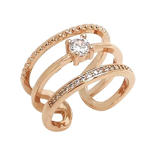 Rhinestone Plated Ring Open Ring Adjustable Pre-engagement Ring Promise Ring Women Accessory (Rose Gold)