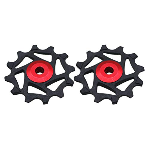 LINASHI Bike Pulley Wheel, 2Pcs 12T Bike Rear Derailleur Guide Pulley Wheel Compatible with Sram XX1 X01 Shimano XTR Red One Size