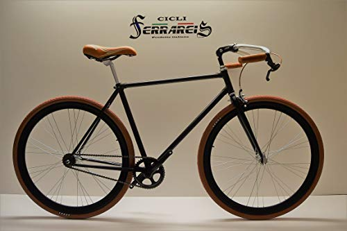 Fixed 28 Bici Single Speed Bicicletta Scatto Fisso Nero Marrone Personalizzabile