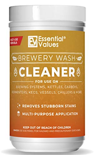 Essential Values Powder Brewery Wash (35 Uses)   Carboy Cleaner - Safely Remove Stubborn Stains   Multi-purpose Cleanser for Brewery Equipment   For Stainless Steel, Rubber, & Plastics - Made in USA
