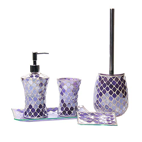 shiyacraft Mosaic Bathroom Accessories Set 5 Piece with Lotion/Soap Pump, Toothbrush Holder, Toilet Brush with Holder, Soap Dish and Towel Tray