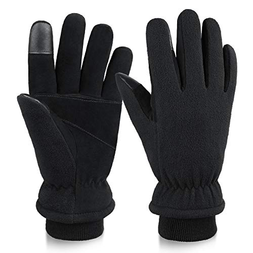 OZERO Winter Work Gloves Thermal in Cold Weather Touch Screen Glove with Deerskin Palm and Warm Polar Fleece for Men and Women X-Large Black