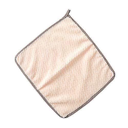 Toallas de cocina 3 piezas de toalla de cocina súper absorbente de forro polar coral suave paño de limpieza almohadilla de paño de cocina para el hogar (color: beige)