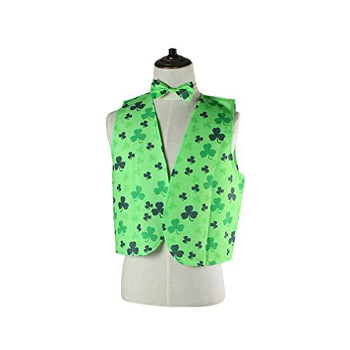 Amosfun St. Patricks Day Green Leprechaun Kit Weste Krawatte Einstecktuch Fliege Saint Patricks Day Kostüm Kleidung Bekleidung Partyzubehör Größe L