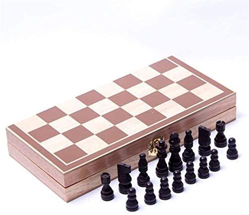 Mirui 1sEscm 34cm * 34cm International Wooden Chess Board Checkers Dibujos para Juegos de Grano de Madera Plegables Conjunto de ajedrez de Madera