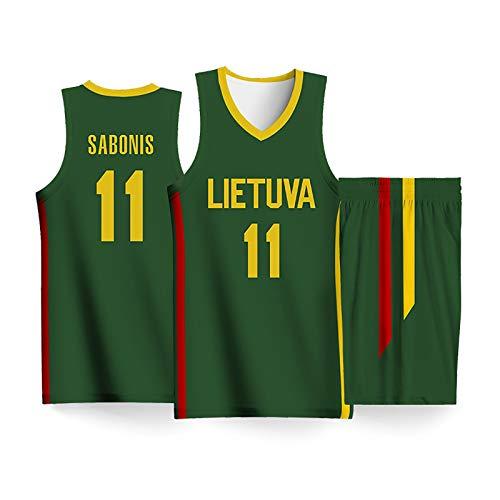 JIUGUAN Herren Basketball Kombi Trikot Set Trikot + Short,Basketballspieler-Trikot verschiedener Länder,Basketball Trainings Ärmellos Jersey und Hose,Namen oder Nummer personalisiert XL Litauen(grün)