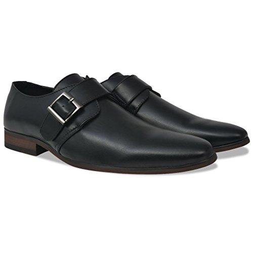 Festnight Herren-Monkschuhe Schnallenschuhe aus PU-Leder Männer Monk-Schuhe Herrenschuhe Niedriger Knöchel Schwarz Größe 42