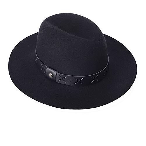 AIEOE - Gorra Fedora de ala Ancha Invierno Sombrero de Fieltro Jazz Retro de Lana Elegante Trilby Color Sólido Viaje Fiesta para Mujer Hombre - Negro