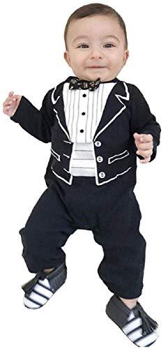 0/6 maanden - maat 70 - kostuum - jumpsuit - onesie - baby - peuter - baby - romper - heer - lange mouwen - speciale gelegenheid - zwart en wit papillon