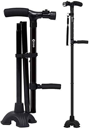 Selbst stehend Faltbarer Gehstock, Led Faltbarer Gehstock Leichter verstellbarer Gehstock für Frauen Männer, zusammenklappbarer Gehstock mit zwei Händel-entworfenen und 5 verstellbaren Höhenstufen