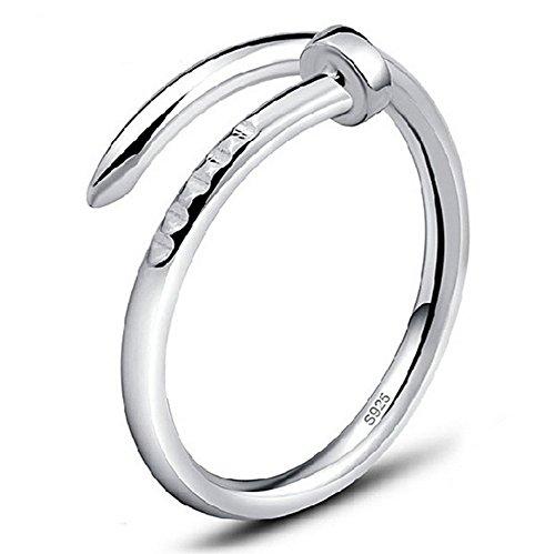 AIUIN Akkus Form der Nagel einfach verstellbar Ring Silber für Damen mit Ring Mode Elegante Mädchen Stil Neue verstellbar offen