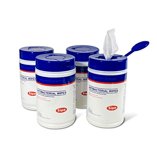 Alcohol-Free Hand Sanitizing Antibacterial Wipes 100 WIPES/CANISTER, (4 CANISTERS)