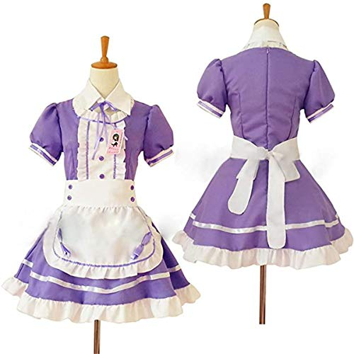 Anime Cosplay Costume French Maid Outfit Halloween, 4 pcs as a set including dress; headwear; apron; fake collar ( purple , Size XL )