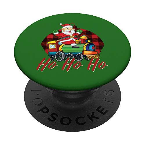 Santa Claus Train Red Buffalo Plaid Christmas Ornament Retro PopSockets PopGrip - Support et Grip pour Smartphone/Tablette avec un Top Interchangeable