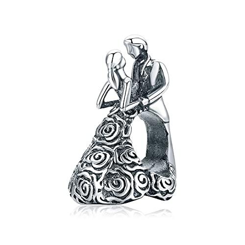 ONLLKL Pandora 925 Sterling Silber Anhänger Passform Original Charms Armband Rose Brautkleid Braut Bräutigam Paar Perlen DIY Schmuck Für Frauen Mary Bangle Berloque