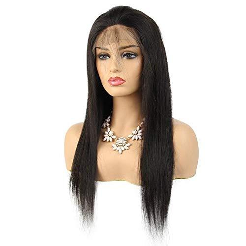 Parrucche Womens Diritta Hook Capelli Veri Capelli Mano Mezzo Parrucca Anteriore del Merletto - Pizzo Anteriore 8inch per Donne e Ragazze (Colore : Black, Size : One Size)