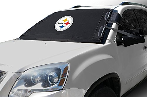 NFL Frost Guard Windshield Cover for Ice and Snow, Pittsburgh Steelers | Standard Size Car Windshield Frost Cover with Mirror Covers | Fits Most Cars, Sedans, Small Trucks, SUVs – 60 x 40 Inches