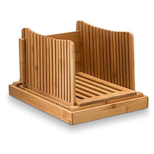 Trancheuse à pain, production de bois de bambou naturel, guide de tranchage de pain réglable d'épaisseur compacte avec plateau ramasse-miettes pour pain fait maison, gâteaux de pain, bagels