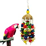 G-HY Large Bird Parrot Toys, Multi-Color Wood Block Natural Corn Husk Bird chew Toy Parrot cage chew Toy for Macaws, African Grey Parrots and Medium and Large Parrot Birds.