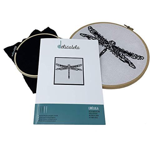 Punto de Cruz | Kit para bordar | Tela Aida 14 ct. de 25cm x 25cm | Hilos y aguja de...