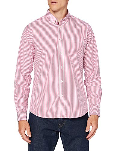 Springfield Pinpoint Stripe-c/61 Camicia Casual, Rosso (Red 61), Large Uomo