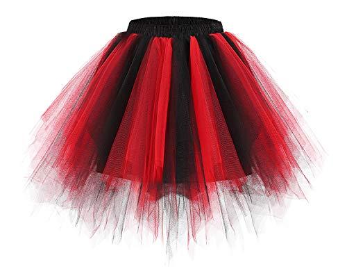 bridesmay bridesmay Damen Tüllrock 50er Tütü Rock Kurz Ballett Unterrock Karneval Kostüm Crinoline Petticoat Tutu Black-Red L
