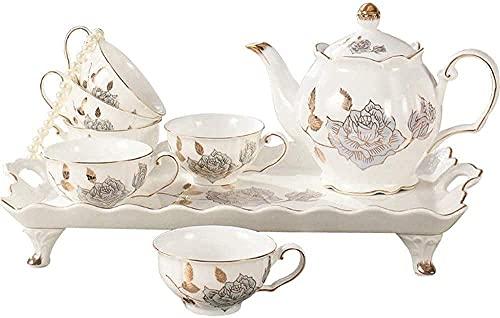 FHKBK Tetera de Hierro Fundido de Estilo japonés con infusor, Juego de Tazas de té de Porcelana de cerámica, 8 Piezas, patrón de Flores Doradas, Juego de café y té de Porcelana esmaltada