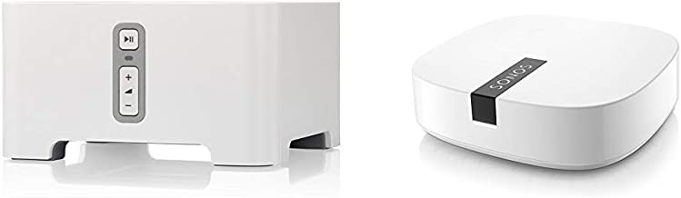 Sonos Connect - Wireless Home Audio Receiver Component for Streaming Music - White Bundle with Sonos Boost - The WiFi Extension for uninterrupted Listening - White