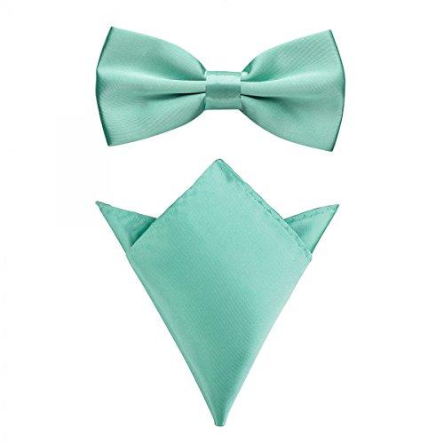 Rusty Bob - Fliege mit Einstecktuch in verschiedenen Farben (bis 48 cm Halsumfang) - zur Konfirmation, zum Anzug, zum Smoking - im 2er-Set - Mintgrün