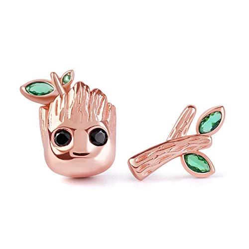 GNOCE Pendientes de tuerca de plata de ley chapada en oro rosa de 18 quilates, con piedra verde, regalo para mujeres y niñas