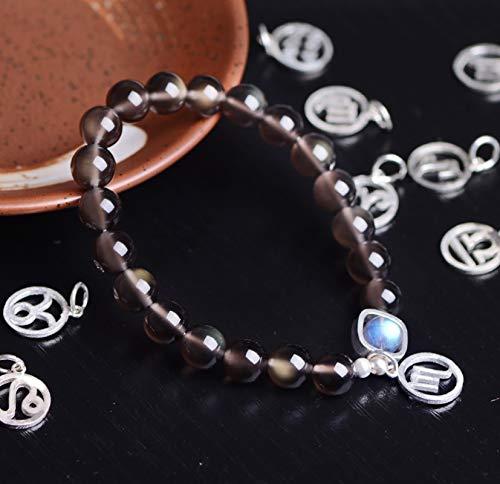 Hielo Natural Obsidiana Pulsera Moonstone 925 pura plata signo del zodiaco de cristal pulsera de piedras preciosas que cura Chakra amuleto para el amor Percepción Prosperidad gran regalo,Cance