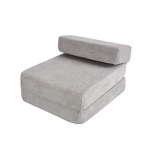 Jumbo Cord Fabric Fold Out Single Z Bed Portable Futon Folding Mattress for Bedroom Dorm Guest Couch Living Room Furniture (Light Gray)